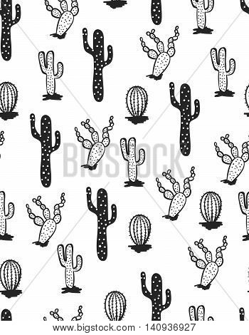 Seamless black and white pattern . Cacti . Vector.  Fashionable print.