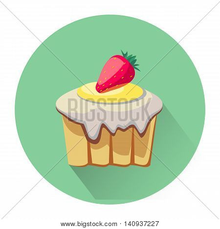 Cartoon dessert cake icon isolated on white background. Vector illustration for sweet food dessert design. Biscuit cake cookie symbol. Delicious logo sign Yellow pink cute color One bright portion