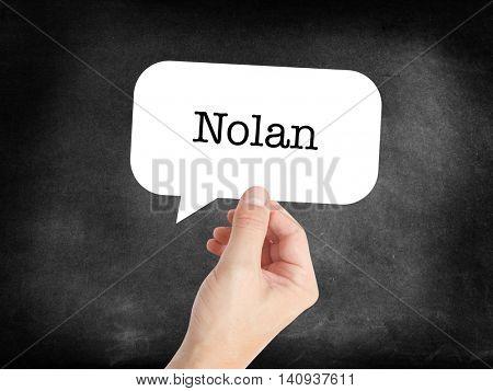 Nolan written in a speechbubble