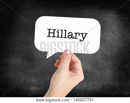 Hillary written in a speechbubble