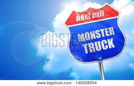 monster truck sign background, 3D rendering, blue street sign