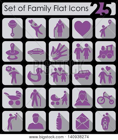 Set of family flat icons for Web and Mobile Applications
