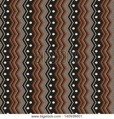 Abstract seamless pattern of vertical repeated zigzag lines and dots. Contrast geometric print in black, brown, orange, yellow colors. Vector illustration for creative design