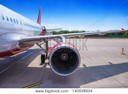 turbine of an airplane against the runway