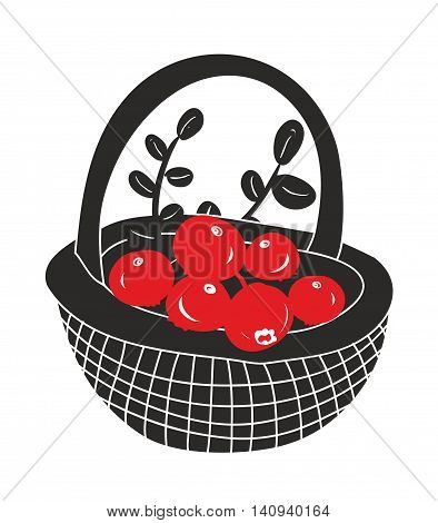 Basket with red berries from the northern forest. Vector illustration.
