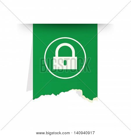 the green tattered label with lock pictogram