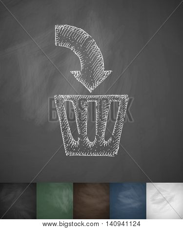delete icon. Hand drawn vector illustration. Chalkboard Design