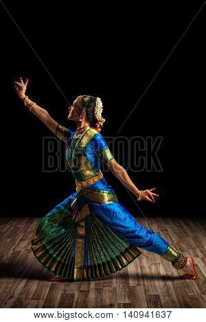 Indian culture - beautiful woman dancer exponent of Indian classical dance Bharatanatyam of Tamil Nadu state