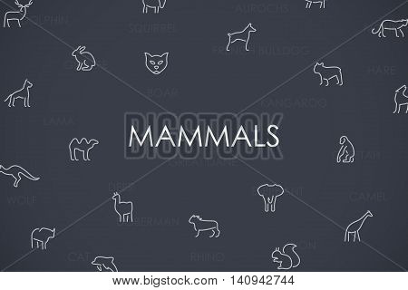 Thin Stroke Line Icons of Mammals on White Background