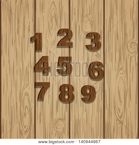 Grunge wooden colored numbers, vector set with numeral characters, ready for text message title or logos on wooden laminate background. Rings of tree.