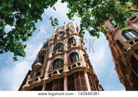 Palma de Mallorca, Spain - May 28, 2016: Can Casasayas art nouveau building in Palma de Mallorca. Architect Francesc Roca and Guillem Reynes Balearic islands Spain