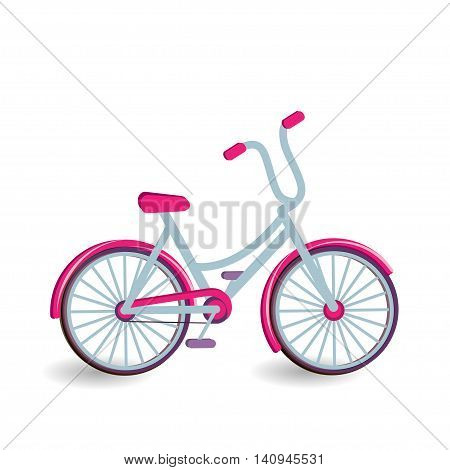 Bicycle icon. Color bicycle is on white background. Vector illustration