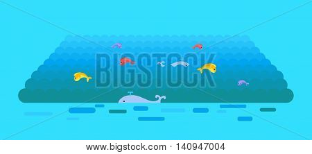 Sea or ocean vector template. Flat style. Waves on water surface with swimming whales and jumping color fishes. Illustration for summer, nature, ecological concepts, icons, web page design.