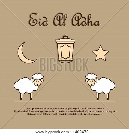 Greeting card template for Muslim Community Festival of sacrifice Eid-Ul-Adha with sheeps latern moon and star. Vector Illustration
