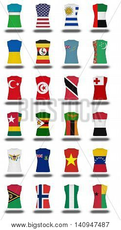 Compilation Of Nationals Flag Shirt Icon On White Background Part 1010