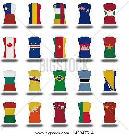 Compilation Of Nationals Flag Shirt Icon On White Background Part 2/10