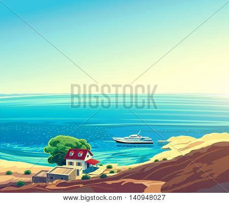 Seascape with the yacht and the hut on the shore on the sea, the marine leisure.