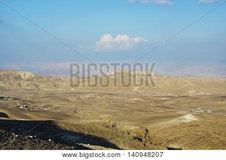 fortress Masada in the desert near the Dead Sea