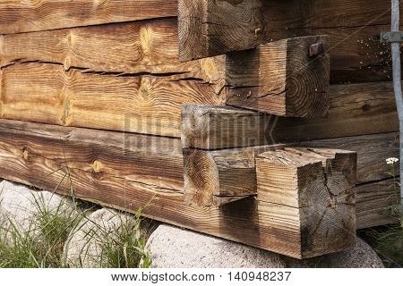 Corner rural wooden house. Rural architecture - detail