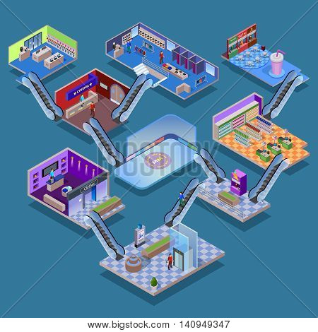 Many-storeyed shopping mall with various department cinema food court and ice rink isometric concept vector illustration