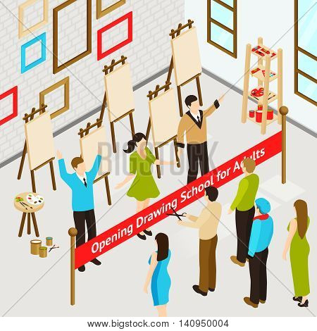 Opening art studio for adults isometric concept with people in drawing school interior vector illustration