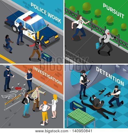 Color isometric composition 2x2 depicting police work pursuit investigation detention vector illustraion