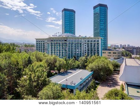 ALMATY KAZAKHSTAN - AUGUST 2 2016: Modern architecture in the historic centre of Almaty.