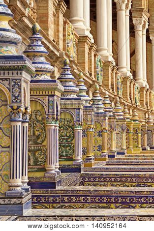 Seville, Spain - April 30, 2016: Detail of colorful handcrafted ceramics at Plaza de Espana, Seville
