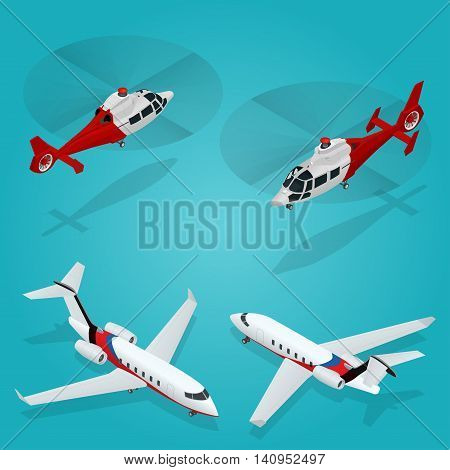 Passenger Airplane. Private jet. Passenger Helicopter. Isometric Transportation. Aircraft Vehicle. Air Transportation Vector illustration