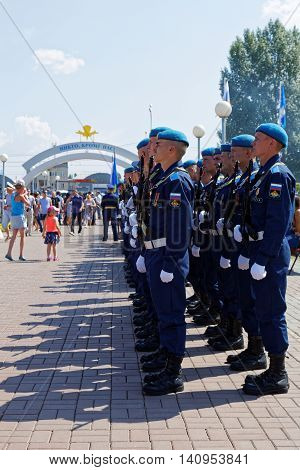 Ulyanovsk Russia - July 31 2016: Day celebration of the Russian Airborne Forces. The Russian Airborne Troops or VDV is a military branch of the Armed Forces of the Russian Federation.