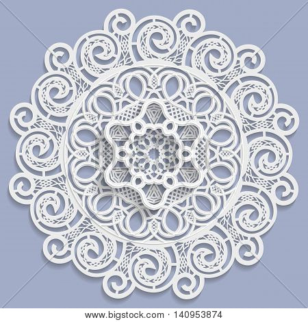 Lace 3D mandala decorative flower lace doily decorative snowflake arabic ornament indian ornament embossed pattern vector