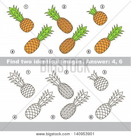 The design difference. Vector visual game for kid education. Simple level of difficulty. Easy educational game. Task and answer. Find two similar Pineapples.