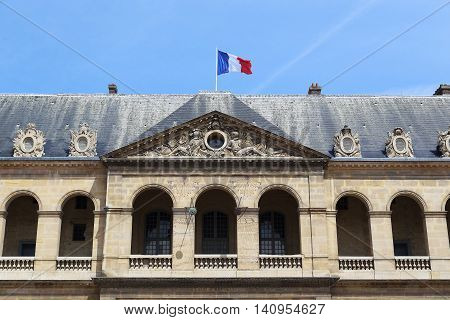 PARIS, FRANCE - MAY 12, 2015: This is architectural fragment gable decorations Les Invalides.