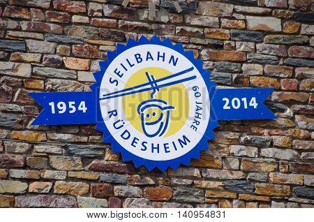 Ruedesheim am Rhein, Germany - July 31 2016: Cable car to the Niederwald monument from Ruedesheim am Rhine