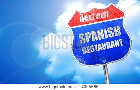 Delicious spanish cuisine, 3D rendering, blue street sign