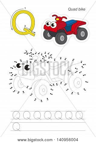Vector exercise illustrated alphabet. Gaming and education. Learn handwriting. Connect dots by numbers. Easy educational kid game. Simple level of difficulty. Tracing worksheet for letter Q. Red Quad Bike