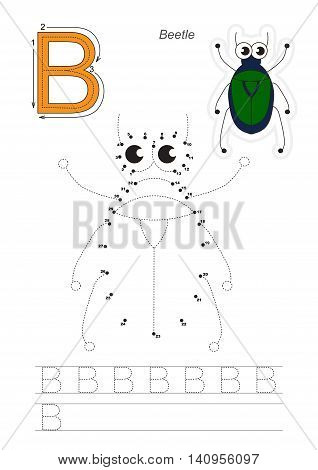Vector exercise illustrated alphabet. Gaming and education. Learn handwriting. Connect dots by numbers. Easy kid game. Simple level of difficulty. Tracing worksheet for letter B. The beetle.