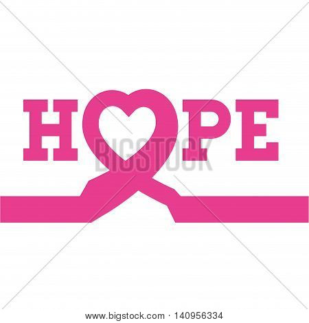 ribbon hope breast cancer pink icon. Isolated and flat illustration. Vector graphic