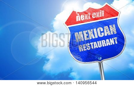 Delicious mexican cuisine, 3D rendering, blue street sign
