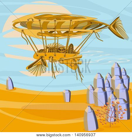 Fantastic Zeppelin airship above the desert. Futuristic or steampunk tattoo design. Isolated vector collapsible composition.