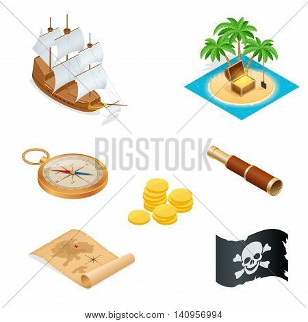 Isometric Pirate accessories flat icons. Collection with wooden treasure chest and black jolly roger flag. Vector illustration.