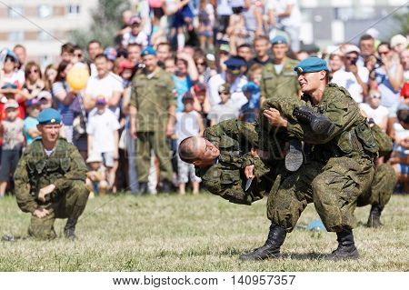 Ulyanovsk Russia - July 31 2016: Demonstration battle during the celebration of the Airborne Forces. The Russian Airborne Troops or VDV is a military branch of the Armed Forces of the Russian Federation.