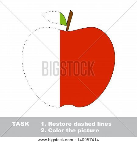Apple in vector to be traced. Restore dashed line and color the picture. Visual game for children. Easy educational kid gaming. Simple level of difficulty. Worksheet for kids education.