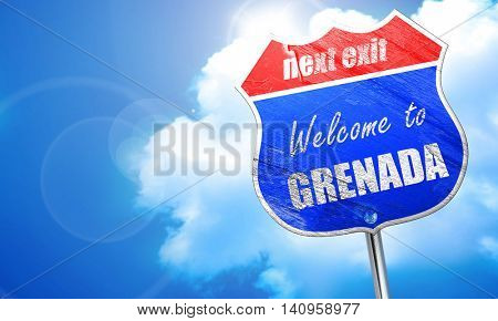 Welcome to grenada, 3D rendering, blue street sign