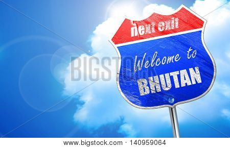 Welcome to bhutan, 3D rendering, blue street sign