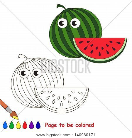 Funny watermelon to be colored. Coloring book to educate kids. Learn colors. Visual educational game. Easy kid gaming and primary education. Simple level of difficulty. Coloring pages.