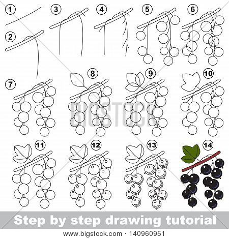 Drawing tutorial for children. Easy educational kid game. Simple level of difficulty. Kid education and gaming. Indoor games for children. How to draw Blackcurrant.