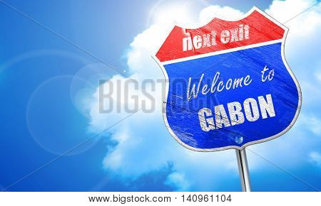 Welcome to gabon, 3D rendering, blue street sign