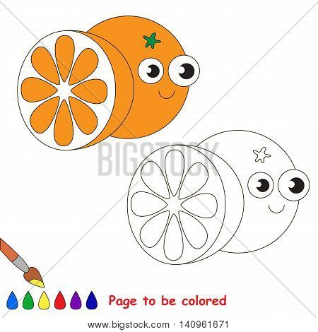 Funny Orange to be colored. Coloring book to educate kids. Learn colors. Visual educational game. Easy kid gaming and primary education. Simple level of difficulty. Coloring pages.