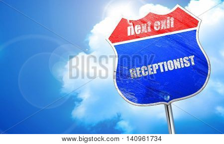 receptionist, 3D rendering, blue street sign